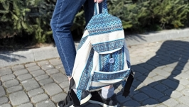 women leinen rucksak with embroidery pattern, eco backpack