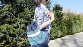 Vegan backpack Weekender bag String backpack Denim backpack  Eco backpack