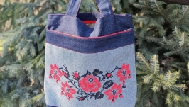 Shoulder bag with embroidery, jeans bag with flowers, denim bags for women