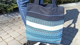 The denim bag combined with a cloth