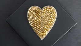 beads embroidered golden heart brooch