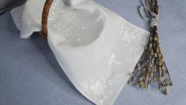 Пасхальный рушник, 60х30см, белый на белом