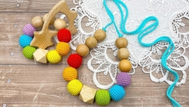 Set of rainbow necklace and beech teether
