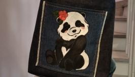 Designer hand-painted denim bag ′Panda′