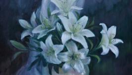 Картина маслом ′Лилии′35*40 см холст,масло , подрамник .