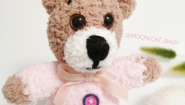 Зефирный Мишка розовый игрушка мягкая плюшевая вязаная мини для девочки