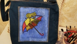 Designer bag with hand-painted ′Umbrella′