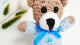 Зефирный Мишка голубой игрушка мягкая плюшевая вязаная мини для мальчика
