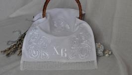 Пасхальный рушник Белые узоры. 60х30см. ткань хб