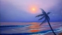 Картина маслом. Закат, океан, Гавайи, волна