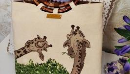 Сумка авторская текстильная с ручной росписью ′Жирафы′