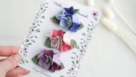 Заколки с цветами для девочки  Заколочки с гортензией малышке