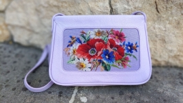 Women′s handbag, genuine leather, hand cross-stitch.