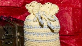 Желтая сумочка( мешочек) для косметики, украшений или подарков.