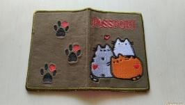 Обложка на паспорт Три кота