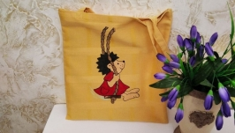 Hand-painted textile yellow shopping bag