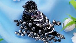 Black bird brooch. Gothic brooch. Bird jewelry. Handmade