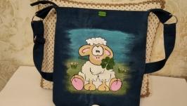 Женская джинсовая сумочка с ручной росписью ′Бараш′