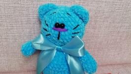 Вязаный голубой кот