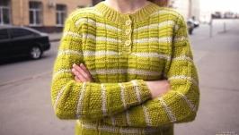 Plaid henley mohair sweater