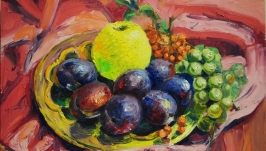 Original oil painting on canvas ′Still Life with apple′ Modern wall art