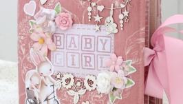 Альбом ручной работы для девочки в наличии ,фотоальбом на годик для девочки