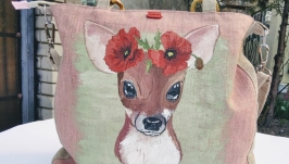 Designer linen bag with hand-painted ′Deer′