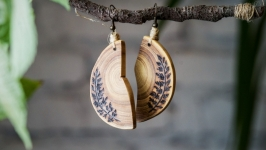 Floral Natural Wooden Dangle Earrings. Pyrography Earrings for Women