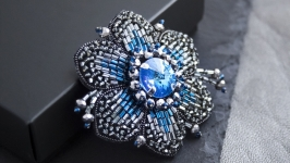 Handmade embroidered crystal flower brooch