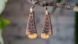 Natural wooden earrings. Wood Burned Floral Earrings.
