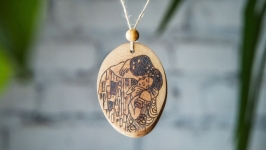Wooden Necklace Gustav Klimt The Kiss. Pyrography Pendant.