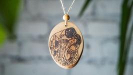 Wooden Necklace Gustav Klimt The Kiss. Pyrography Pendant.