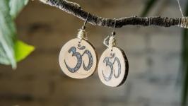 Natural Wooden Dangle Earrings. Pyrography Earrings for Women. Wood Burne