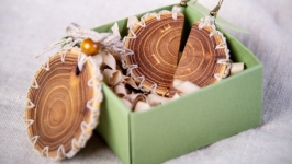 Natural Wooden Set of Acacia Jewelry. Wooden Еarrings and Pendant