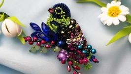 Enchanting handmade bird brooch, an exclusive gift for a woman