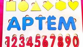 Детский пазл,сортер.именной подарок ребенку,монтессори, развивающие игры