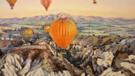 Оригинальная картина гор Большой пейзаж Современная  настенная живопись.