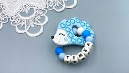 Personalized silicone teething Hedgehog