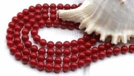 Жемчуг Майорка 6 мм нить ′Красный глянец′