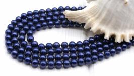 Жемчуг Майорка 6 мм поштучно ′Индиго′ синий