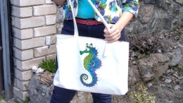 Summer bag exclusive with a hand-painted ′Seahorse′