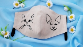 Designer mask fabric knitted with hand embroidery Sphynx cat