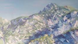 Ультра большая акриловая картина Большой горный пейзаж Акриловая картина