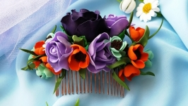 Wedding comb with burgundy flower  Rustic flower hair comb