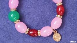 Браслет с подвеской цветок из серии ′Нежный розовый′