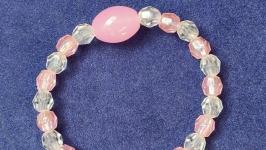 Браслет с большой розовой бусиной из серии ′Нежный розовый′