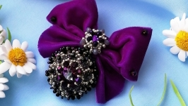 Crystal brooch order  Purple brooch - order with crystals and velvet bow