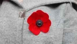 Red poppy brooch for Victory Day