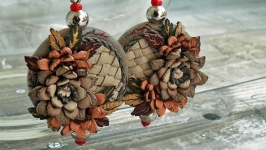 Pendant earrings made of genuine leather with chrysanthemums