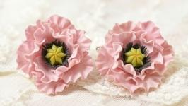 Сережки Розовые Маки
